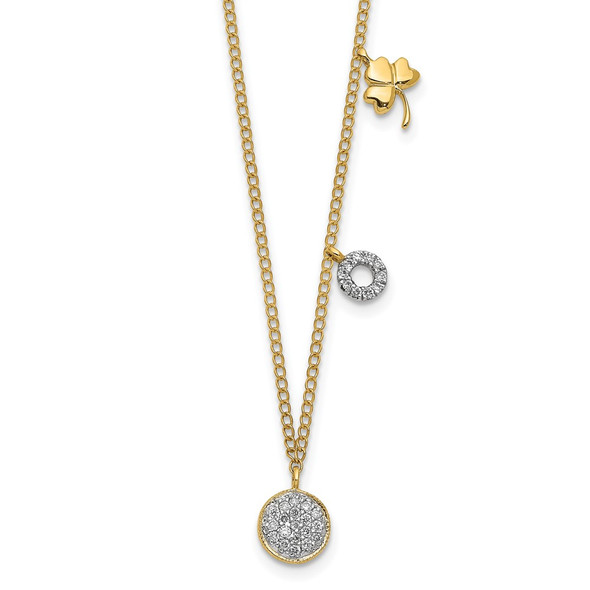14k Yellow Gold Diamond Two Circle and Shamrock 16.5 inch Necklace