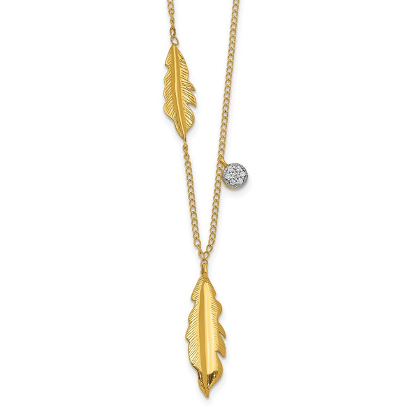 14k Yellow Gold Diamond and Feathers 16.5 inch Necklace PM4701-003-YA