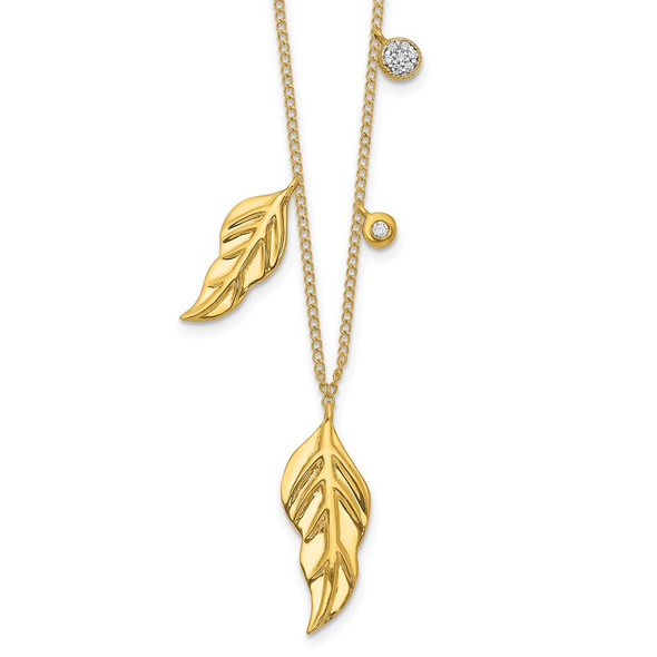 14k Yellow Gold Diamond and Feathers 16.5 inch Necklace PM4702-005-YA