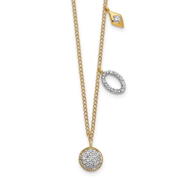 14k Yellow Gold Diamond Circles 18 inch Necklace