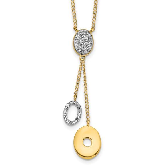 14k Yellow Gold Diamond Circles 18 inch Dangle Necklace PM4704-010-YA