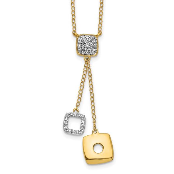 14k Yellow Gold Diamond Circles 18 inch Dangle Necklace PM4705-010-YA