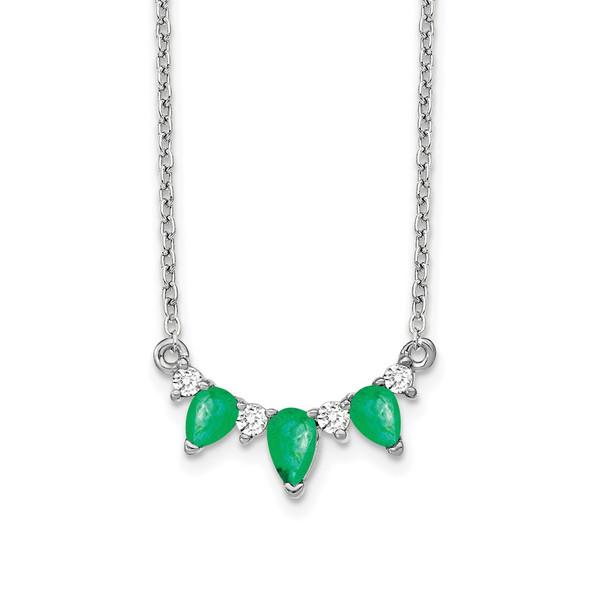 14k White Gold Emerald and Diamond 18 inch Necklace PM7176-EM-012-WA