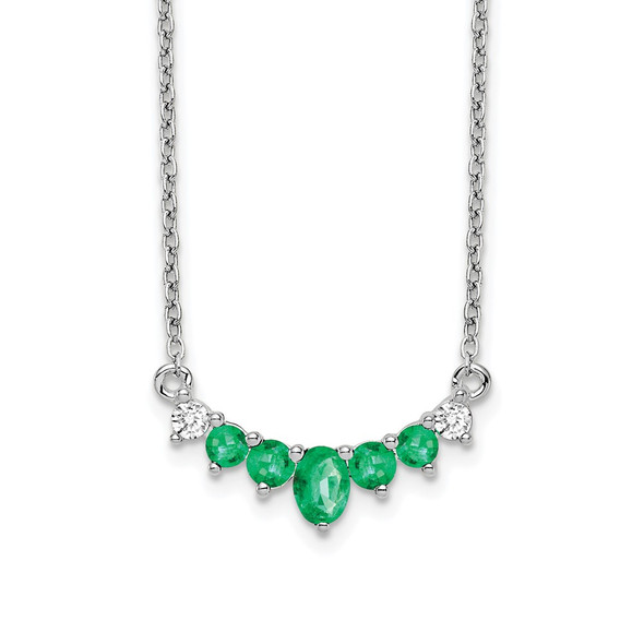14k White Gold Emerald and Diamond 18 inch Necklace PM7177-EM-007-WA