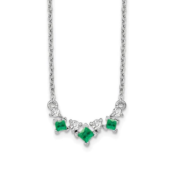 14k White Gold Emerald and Diamond 18 inch Necklace PM7178-EM-012-WA