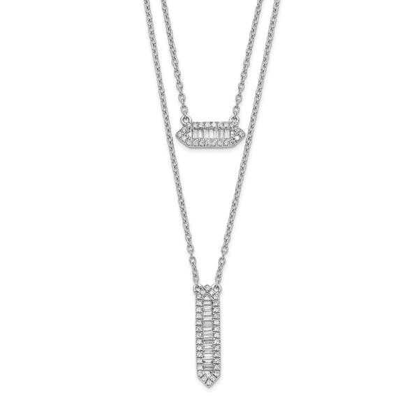 14k White Gold Double Strand 18in Necklace PM8567-040-WA