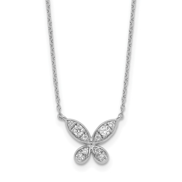 14k White Gold Diamond Butterfly 18in Necklace