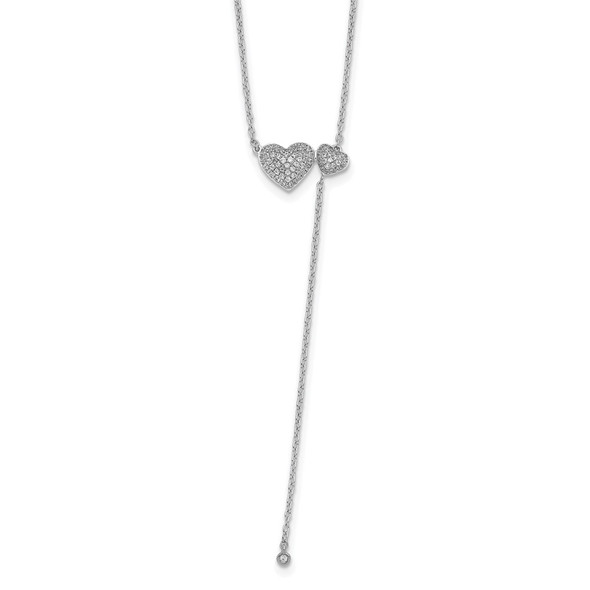 14k White Gold Two Hearts 18in Necklace