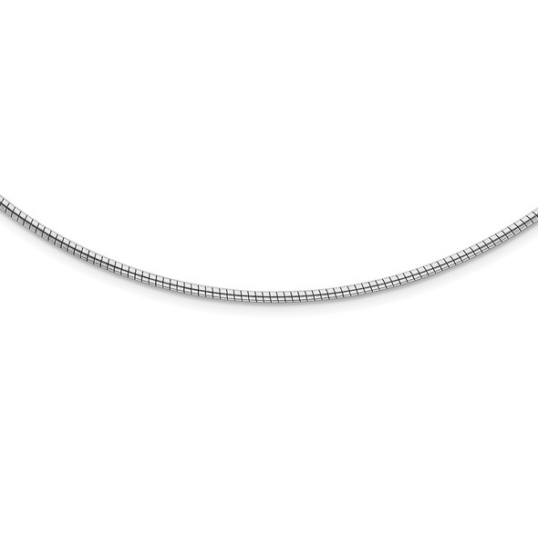 Rhodium-plated Sterling Silver 2mm Round w/2in ext Cubetto Necklace