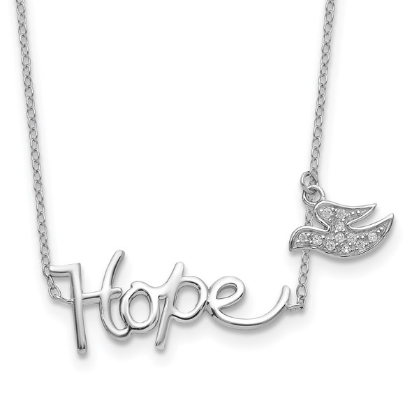 Rhodium-plated Sterling Silver HOPE w/CZ Dove Charm Necklace