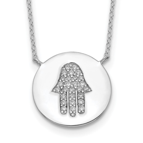 Rhodium-plated Sterling Silver Hamsa w/CZ w/2in ext. Necklace