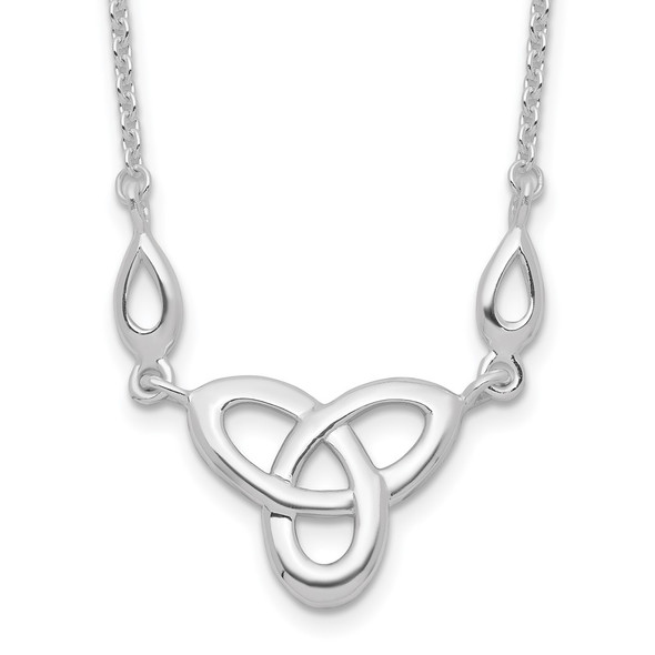 Rhodium-plated Sterling Silver Celtic Knot w/1.5in Ext Necklace