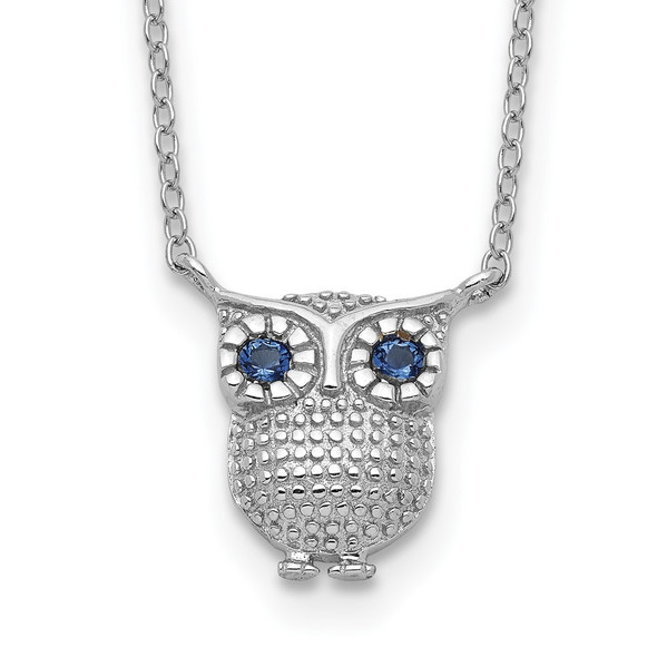 Sterling Silver Rhodium-plated Blue Synthetic Sapphire Owl 2in ext Necklace