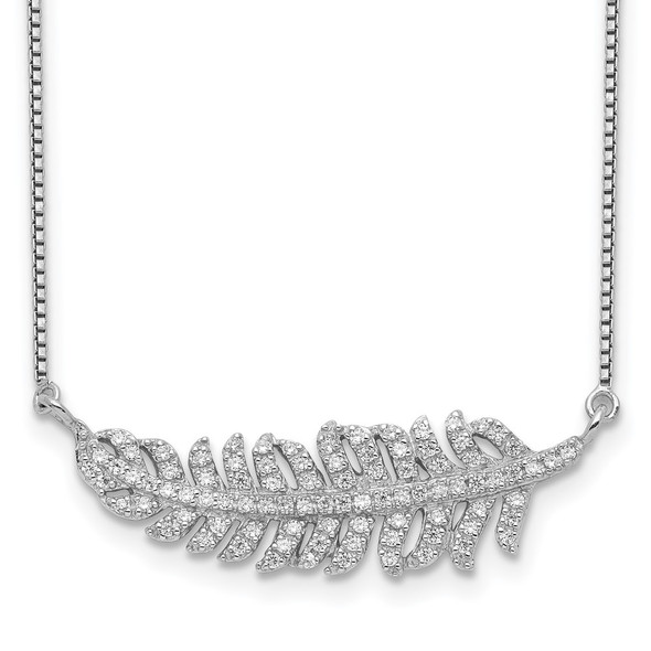 Rhodium-plated Sterling Silver w/CZ Leaf Necklace