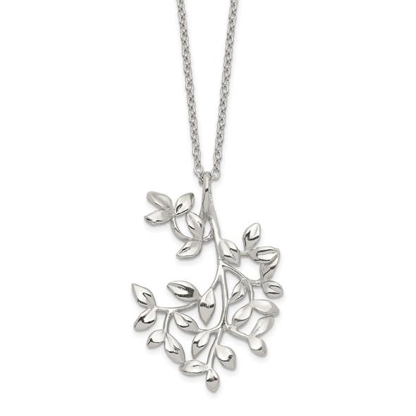 Sterling Silver Polished Leaf Necklace