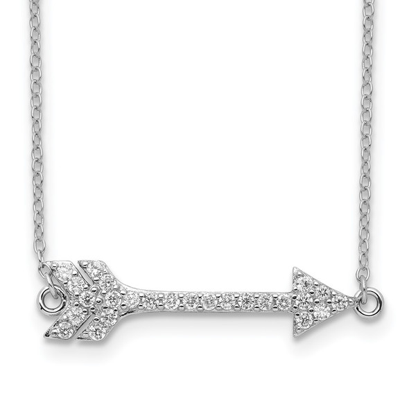 Rhodium-plated Sterling Silver CZ Arrow w/2in ext. Necklace