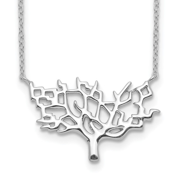 Rhodium-plated Sterling Silver Tree w/2in ext. Necklace