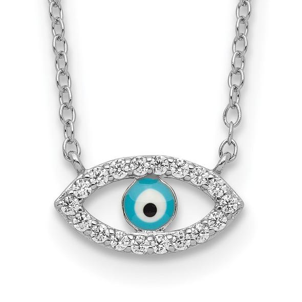 Rhodium-plated Sterling Silver Enamel Eye w/CZ Necklace