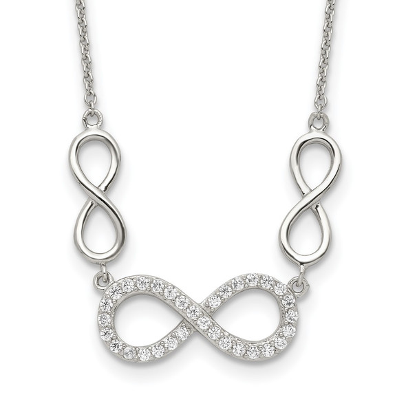 Sterling Silver Polished CZ Infinity Symbol Necklace QG3719-18