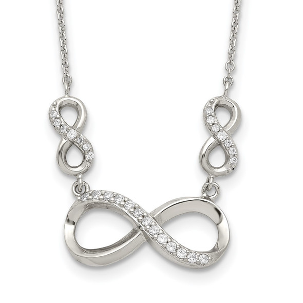 Sterling Silver Polished CZ Infinity Symbol Necklace QG3720-18