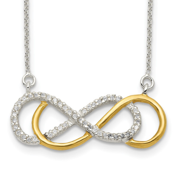 Sterling Silver Flash Gold-plated CZ Infinity Necklace