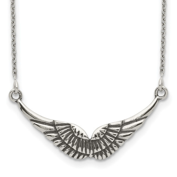 Sterling Silver Polished and Antiqued Wings Necklace