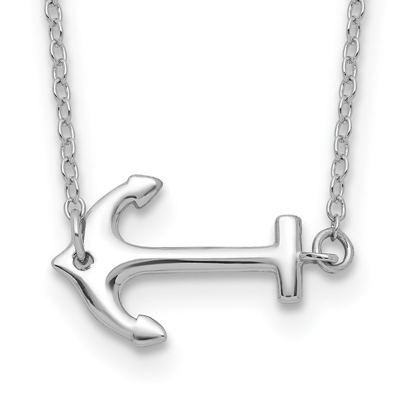 Rhodium-plated Sterling Silver Anchor w/2in ext. Necklace QG3998-16
