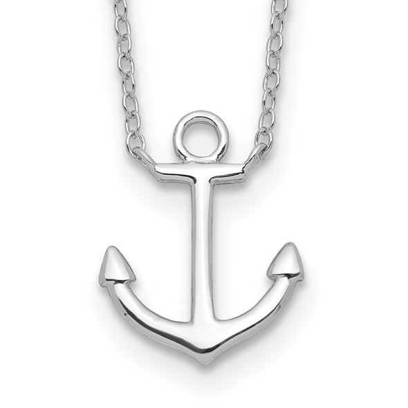 Rhodium-plated Sterling Silver Anchor w/2in ext. Necklace QG3999-16