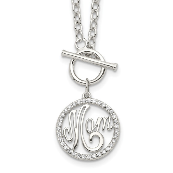 Rhodium-plated Sterling Silver Polished CZ MOM Necklace