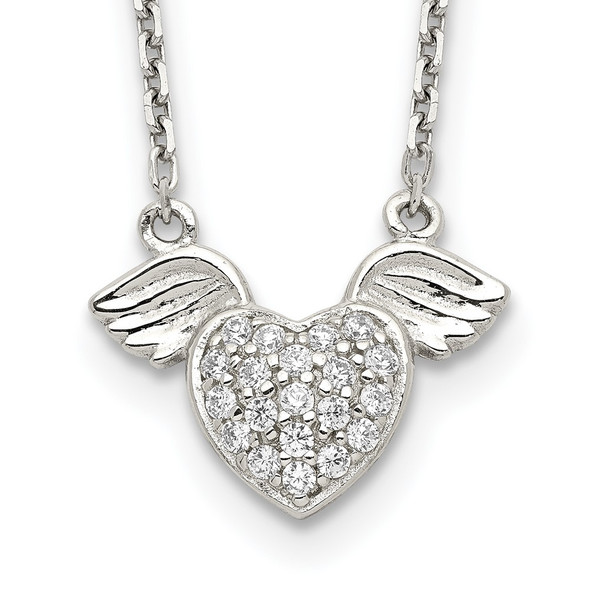 Sterling Silver Polished CZ Heart w/Wings Necklace