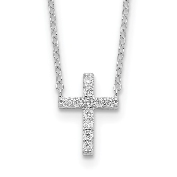Rhodium-plated Sterling Silver CZ Cross w/2in ext. Necklace