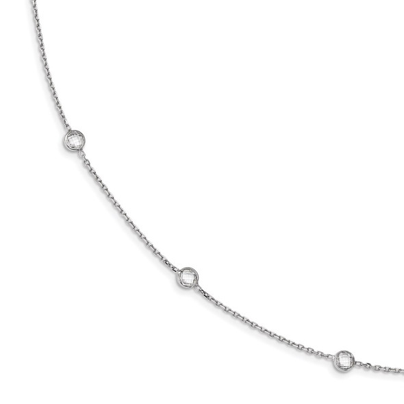 Rhodium-plated Sterling Silver 9-Station CZ Polished Necklace