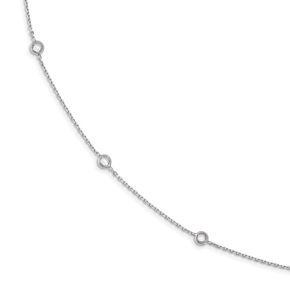 Rhodium-plated Sterling Silver 11-Station CZ Polished Necklace