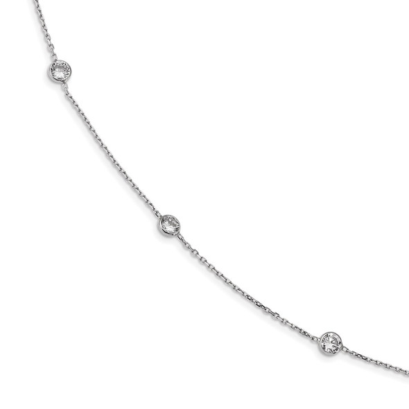 Rhodium-plated Sterling Silver 16-Station CZ Polished Necklace