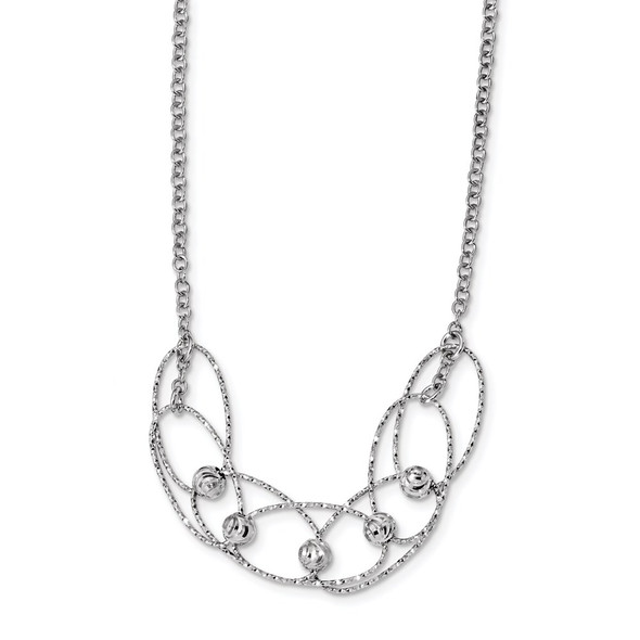 Rhodium-plated Sterling Silver Diamond-cut Beads w/2in ext. Necklace