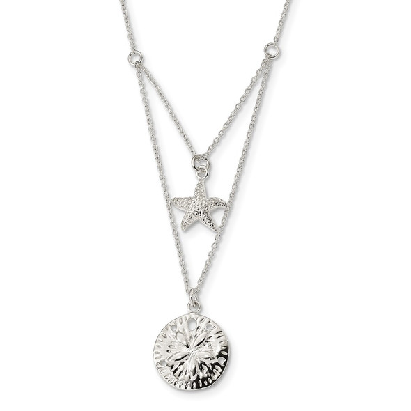 Sterling Silver 2-strand Starfish and Sand Dollar 18 inch Necklace
