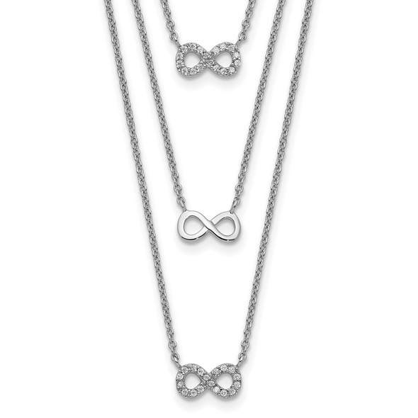 Sterling Silver Rhodium-plated 3-Strand CZ Infinity w/2in ext. Necklace