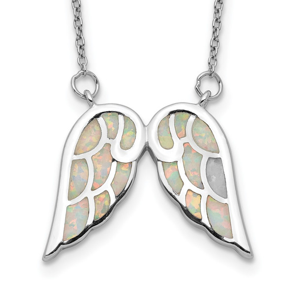 Sterling Silver Rhodium-plated Created Opal Wings w/1.5in ext Necklace