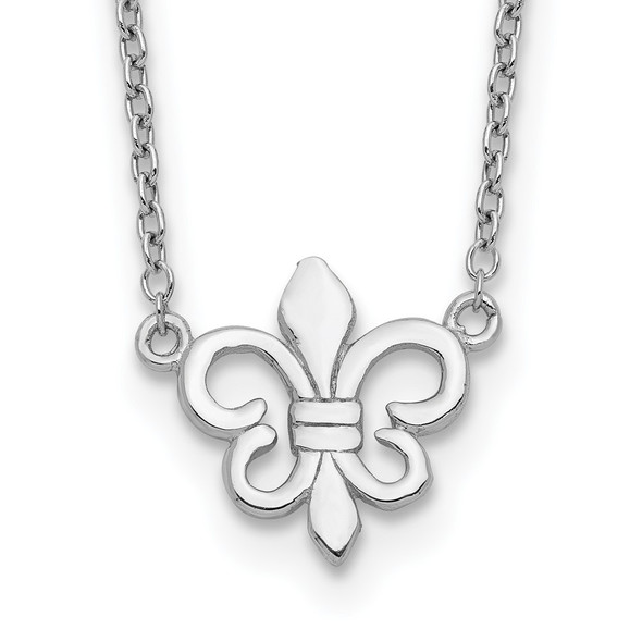 Rhodium-plated Sterling Silver Fleur de Lis w/1in ext Necklace