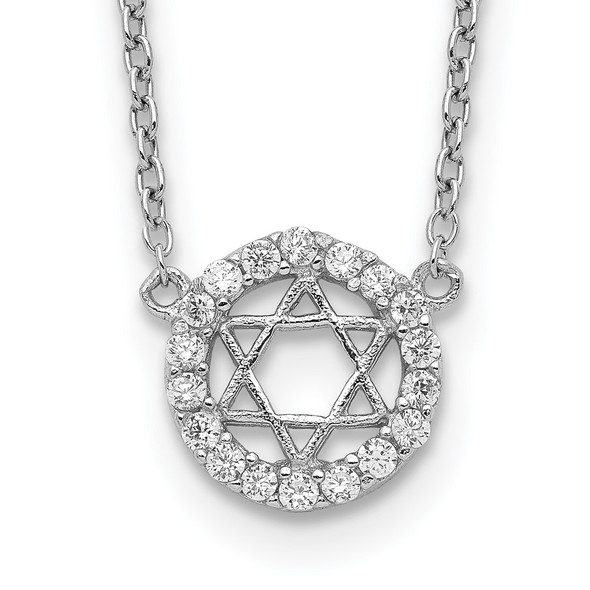 Rhodium-plated Sterling Silver CZ Star of David w/ 2in ext. Necklace