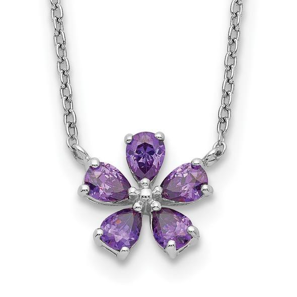 Sterling Silver Purple CZ Flower Necklace