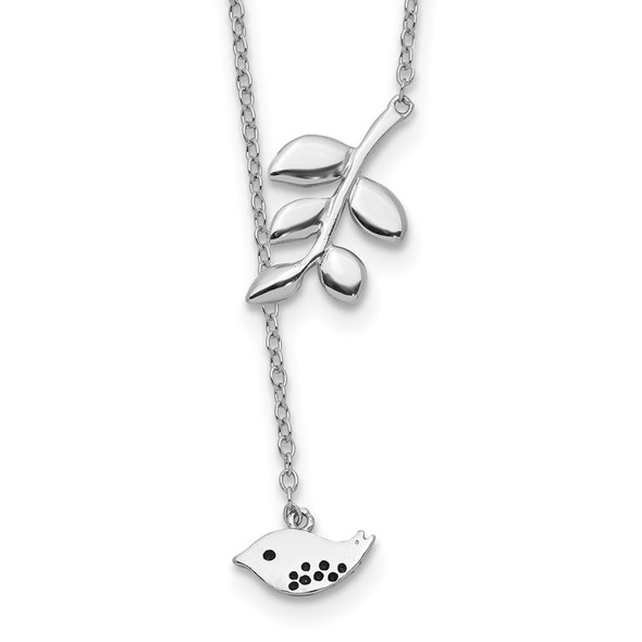 Rhodium-plated Sterling Silver Leaf and Bird w/ 2in ext. Necklace