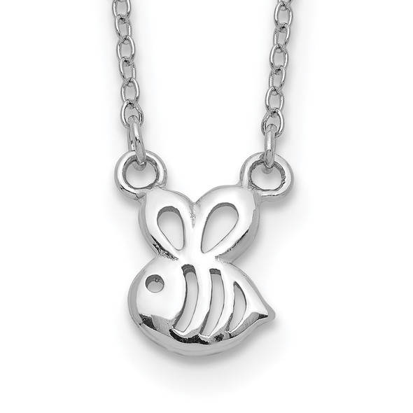 Rhodium-plated Sterling Silver Bumble Bee W/2 in ext. Necklace