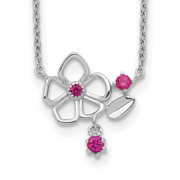 Rhodium-plated Sterling Silver Pink CZ Flower w/2in. Ext. Necklace