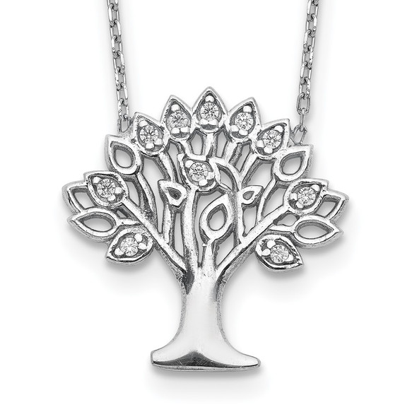 Rhodium-plated Sterling Silver CZ Tree w/ 2in ext. Necklace