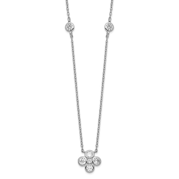 Rhodium-plated Sterling Silver Polished CZ Flower with 2in ext. Necklace