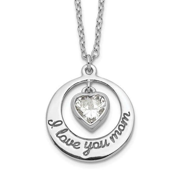 Sterling Silver Rhodium-plated CZ Heart LOVE YOU MOM w/2in ext Necklace