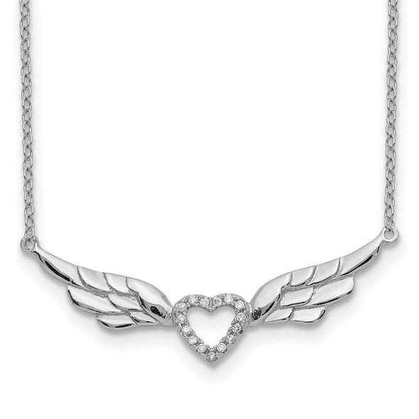 Rhodium-plated Sterling Silver CZ Heart w/Wings w/1in ext Necklace