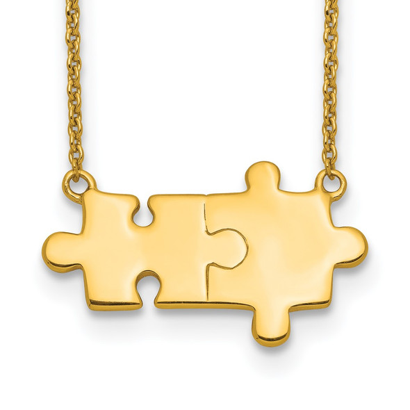Sterling Silver Gold-tone Brushed/Polished Puzzle Pieces Necklace