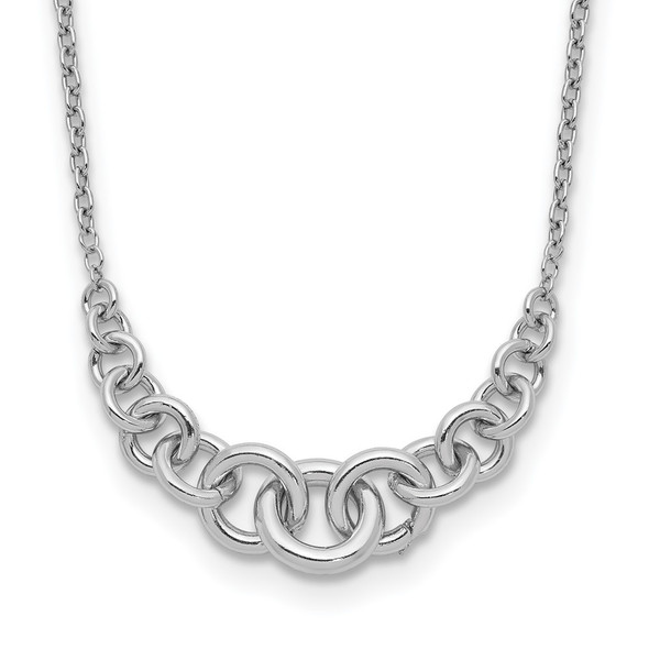 Rhodium-plated Sterling Silver Circles 16in w/1in ext Necklace
